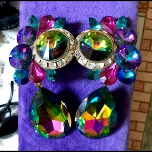 Vintage Rivoli crystal watermelon earrings dangle